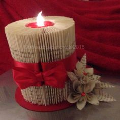 Book art candle Book art candle Source by cerstino Old Book Crafts, Book Page Crafts, Book Page Art, Paper Crafts, Diy Crafts, Folded Book Art, Paper Book, Paper Art, Christmas Candle