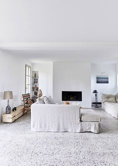 This traditional french country house has been modernised in a modern rustic style with a great mix of old and new. Rustic French Country, French Country House, Rustic Modern, French Farmhouse, Rustic Style, Living Room Designs, Living Room Decor, Living Spaces, Terrazo Flooring