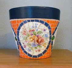 Large mosaic flower pot (terracotta); decorative and useable; can be used indoors or outside on Etsy, $75.39