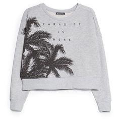MANGO Palm cropped sweatshirt found on Polyvore