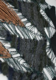 Dip-dyed paper yarn fringing with delicate ladders for movement, alongside densely e-wrapped surfaces, domestic machine knit. Emma Pengilly.