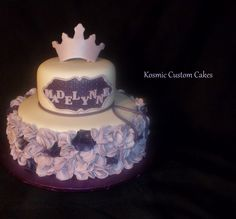 Purple Ruffles Cake For more pics - Find us on Facebook TODAY! Kosmic Custom Cakes