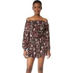 Free People Pretty And Free Romper ($49) ❤ liked on Polyvore featuring jumpsuits, rompers, black, off the shoulder romper, playsuit romper, floral romper, free people romper and long sleeve floral romper