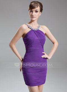 [€ 95.00] Sheath/Column Scoop Neck Short/Mini Chiffon Cocktail Dress With Ruffle Beading (016020816)