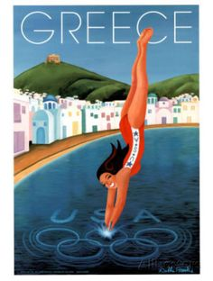 Greece: vintage poster collections tips guide Tourism Poster, Poster Ads, Poster Prints, Old Posters, Beach Posters, Vintage Travel Posters, Vintage Ads, Greece Travel, Illustrations
