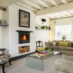 Traditional cream living room with beams | Living room decorating | 25 Beautiful Homes | Housetohome.co.uk