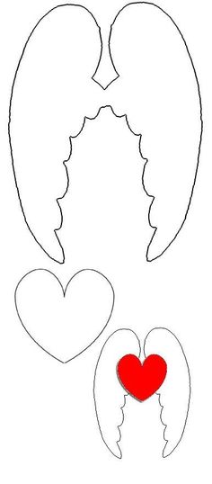 Wings and heart template Christmas Projects, Christmas Crafts, Christmas Decorations, Christmas Ornaments, Diy And Crafts, Craft Projects, Crafts For Kids, Paper Crafts, Easy Crafts
