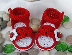 Lady bug crochet baby sandals