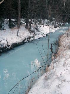 Frozen stream in Phantom Canyon, Colorado, Southeast of Cripple Creek.