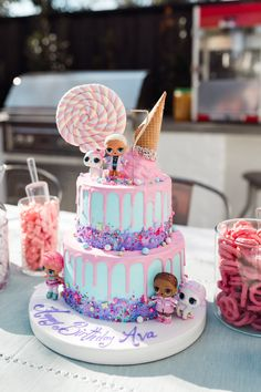 Ava's Birthday Party – Andee Layne – Party Ideas Doll Birthday Cake, Funny Birthday Cakes, Birthday Cakes For Girls, Birthday Cupcakes, 7th Birthday Party Ideas, 5th Birthday, Surprise Birthday, Lol Doll Cake, Girl Cakes