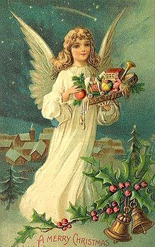 A Merry Christmas Vintage Christmas Postcard Angel Vintage Christmas Images, Old Christmas, Victorian Christmas, Vintage Holiday, Christmas Pictures, Christmas Angels, Christmas Greetings, Christmas And New Year, Christmas Postcards