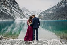 Magical Autumn engagement session in Lake Louise with Snow covered mountains intimate weddings & elopements ( Mountain Engagement Photos, Fall Engagement, Engagement Session, Engagements, Mountain Elopement, Banff National Park, National Parks, Local Photographers, Winter Photos