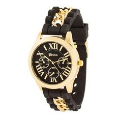 Gold Watch With Black Rubber Strap