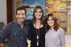 Sela Ward, JD, and Rebecca are all smiles on set!