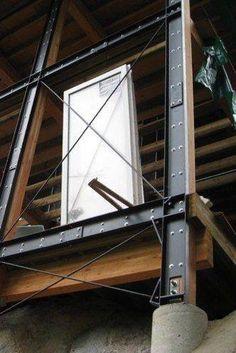 Steel I-beams as columns and beams