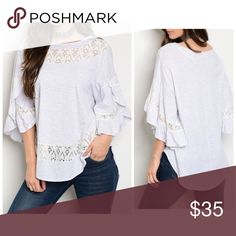 ARRIVED Obsessed with this lace detail top! Round Neck 3/4 Ruffled Sleeve Tunic Top, With Lace Detail. 100 % cotton - pale gray and ivory lace oversized fit - beautiful Tops Tunics