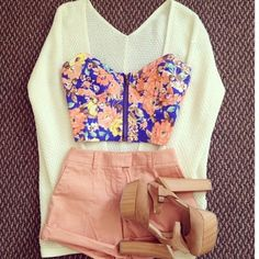 Floral top salmon shorts