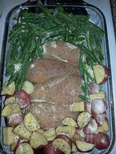 One Dish Chicken – Potatoes, Green Beans along Chicken, season with salt/pepper, Italian seasoning pkt over everything.  Cover with foil, bake 350 for 1 hr.