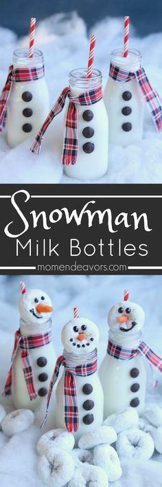 Cute Snowman Milk Bottles - an adorable & easy holiday treat idea!!