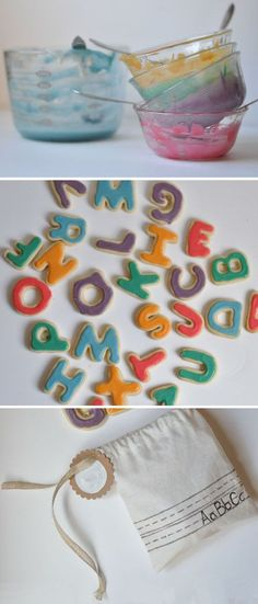 Alphabet cookies & little bag. Cute gift for teachers! Letter Learning https://www.amazon.com/gp/product/B075C661CM