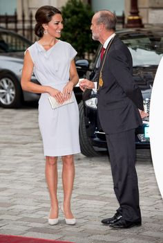 Catherine, Duchess of Cambridge is greeted by Christopher Lebrun, President of the RA as she attends the UK's Creative Industries Reception at the Royal Academy of Arts on July 30, 2012 in London, England.