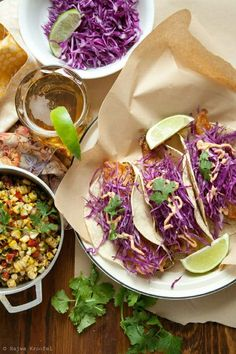 Crispy Fish Taco Recipe With Purple Cabbage & Corn Salad.