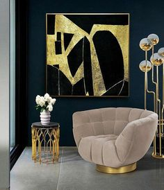 Horizontal Abstract Painting, Large Abstract Painting Art, Large Rectangular Horizontal Canvas Art, Black And Gold Leaf Horizontal Painting Large Canvas Art, Large Wall Art, Abstract Canvas, Canvas Wall Art, Gold Leaf Art, Leaf Wall Art, Gold Art, Simple Art, Easy Art