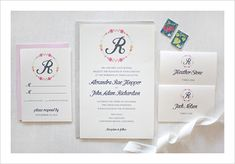 Floral Monogram Free Printable Invitations