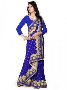 Glory Catloge -blue Colored Embroidered Georgette Sarees - Buy Blue Georgette Embroidered Saree For only Rs.2,749 from Godomart Online Shopping Store India. Shop Online for Best Saree Collection Only at Godomart.com