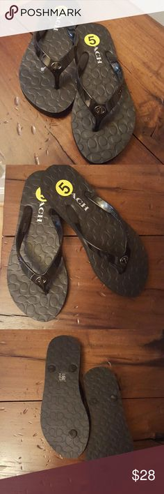 Coach flip flops. NWT. Black sz 5 💕Coach 💕Women's flip flops. Size 5. NWT. Do not come with a box.  From a smoke-free home.  No trades! Coach Shoes Sandals