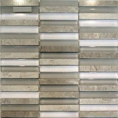 Kitchen Tiles Samples sample- stainless steel cream beige linear glass mosaic tile