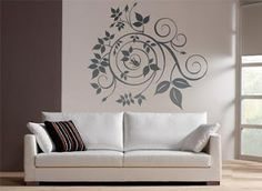 Wall art. Creative black Swirl with leaves and curls.