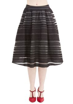 Season of Sweetness Skirt - Long, Woven, Black, Lace, Party, Holiday Party, Full, Fall, Best, Black, Stripes