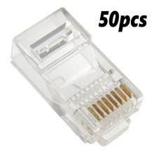 50x Rj45 Cat5e Cat6 Network Lan Patch Cable End Crimp Plug Connector Gold Pins Crystal Lan Network Connector In 2020 Modular Plug Computer Cables Rj45