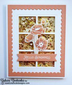 Vellum floral shaker card by Yuari Yoshioka | Flower Garden Stamp set by Newton's Nook Designs #newtonsnook