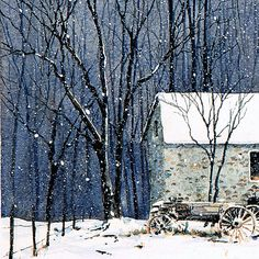 Detail of CHADDS FORD SNOW watercolor snowscape by Thomas A Needham