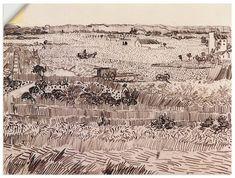 Van Gogh Drawings, Van Gogh Paintings, Ink Pen Drawings, Drawing Sketches, City Drawing, Drawing Art, Sketching, Vincent Van Gogh, Art Van