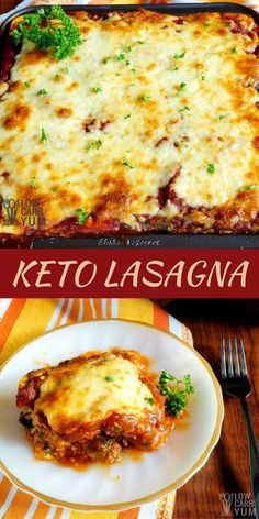 A keto lasagna for meat lovers! Rather than try to sneak in a vegetable for the pasta layer, meatza slices are used in this low carb casserole. #keto #lowcarb #ketorecipe | LowCarbYum.com via @lowcarbyum