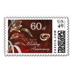 60th Wedding Anniversary Postage Stamps Postage Stamps