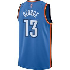Nike Men's Oklahoma City Thunder Paul George 13 Swingman Jersey (Blue, Size Medium) - Pro Licensed Product, Nba Polos/Jerseys at Academy Sports