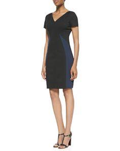 Elie Tahari Clara V-Neck Colorblock Dress