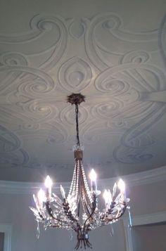 Art Nouveau ceiling molding design provided through the magic of trompe l'oeil...
