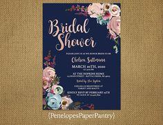 Elegant Navy Bridal Shower InvitationRose GoldSmokey