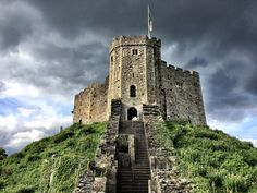 Dramatic Skies Over Cardiff Castle in Wales