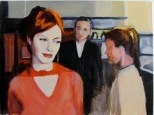 """""""Pensive Red"""" from Mad Men series of paintings by Caroline Wampole"""