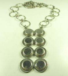 K-L-Designer-Collier-835-Silber-Halskette-70er-Space-Age-Kette-Modernist-c19-N