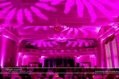 Intelligent / moving lighting design with ceiling texture in Pink at University Club Downtown St. Paul.