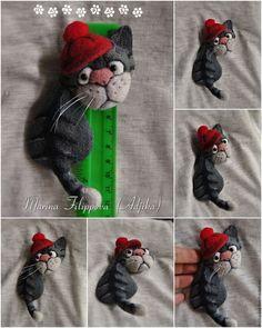 Купить Валяные броши-коты для примера - рыжий, кот, наглый, цыпленок, брошь, валяная, из шерсти