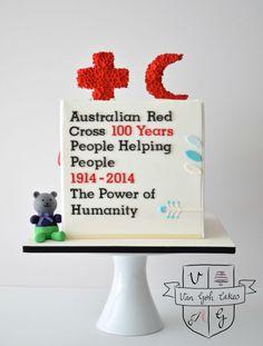 100 Years of Australian Red Cross - cake by Van Goh Cakes American Red Cross, American War, Cross Cakes, Helping People, The 100, Desserts, Spanish, Van, Red Cross