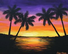 tropical sunset painting - Google Search